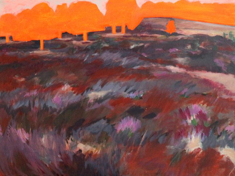 Coördinaten Landschap 3 (heide), 110×80 cm, mixed media, 2018