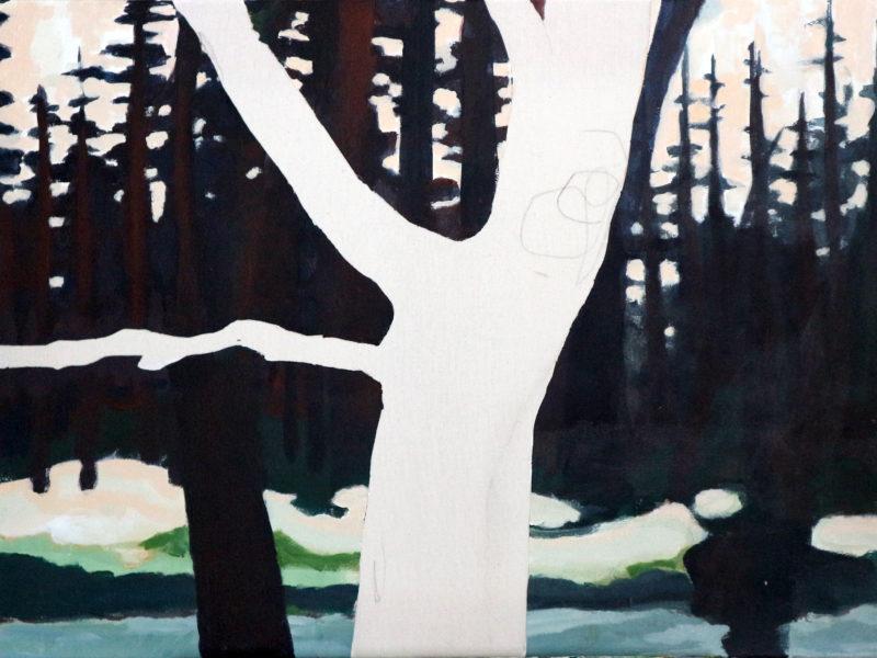 Dancing Trees – Rozendaals Laantje 3 – 60 x 80 cm – Acryl op doek