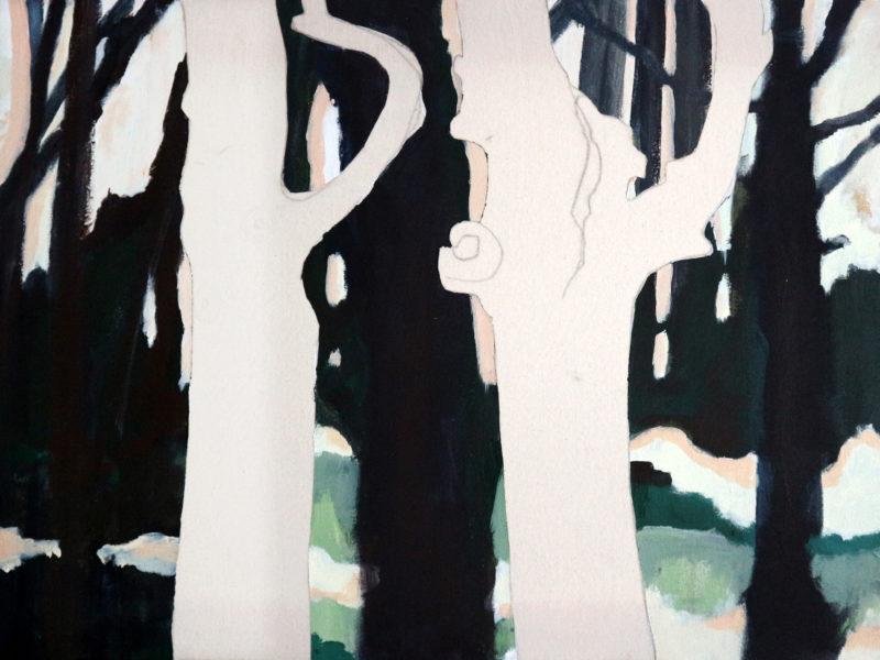Dancing Trees/ Rozendaals Laantje 1 – 60 x 80 cm – Acryl op doek