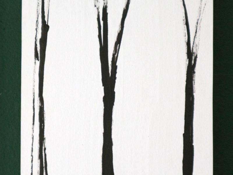 Boom#3, 12x15cm, inkt op papier, papier op hout, 2020