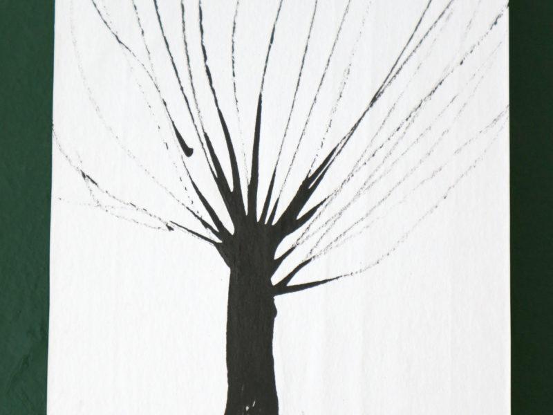 Boom#8, 12x15cm, inkt op papier, papier op hout, 2020