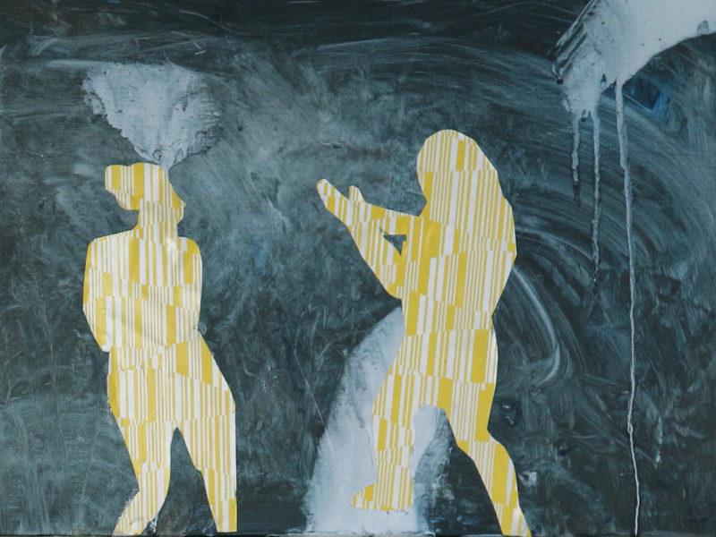 Dansende meisjes 1 30×48 cm mixed media op paneel