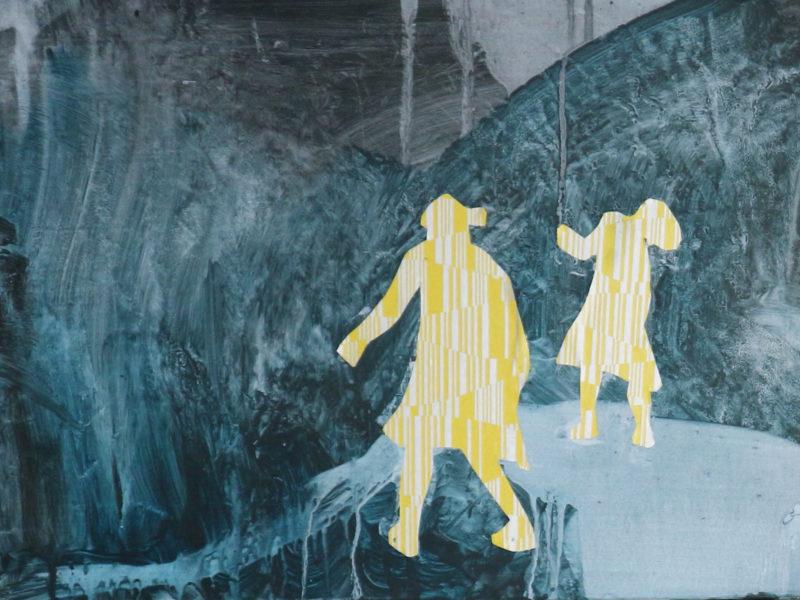 Dansende meisjes 2 30×48 cm mixed media op paneel
